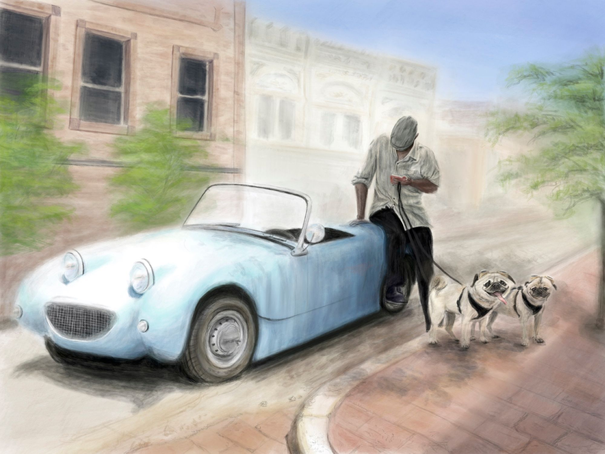 Sketchbook: Man with Car and Dogs