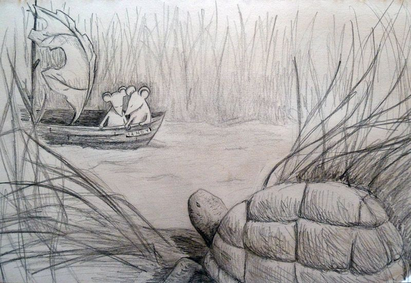 Sketchbook: Mouse Leafboat Romance