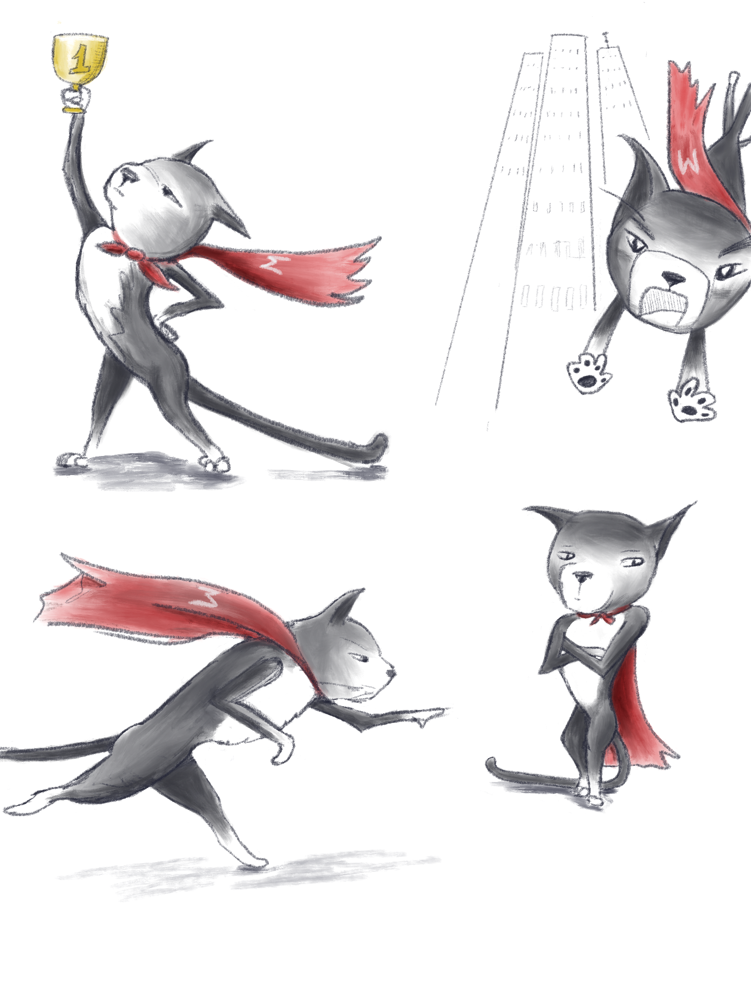 Four drawings of a black and white cat with a red cape. One holding a trophy, one jumping off a skyscraper, one running  stealthily, one listening skeptically