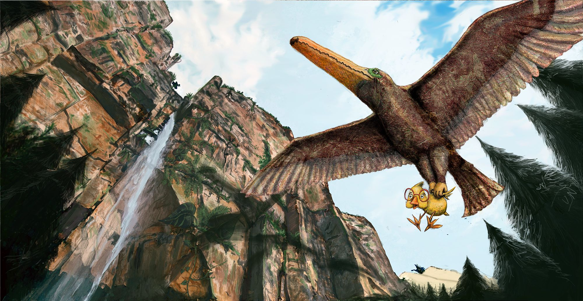 Nervous chick with glasses gets carried through forest/cliff area by a giant flying dinosaur